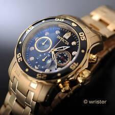 Men's Invicta Pro Diver Scuba Chronograph Gold IP SS Black Dial 48mm Watch NEW