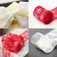 10M Christmas Snowflake Wired Ribbon Webbing Gift Packing Wrap Craft Xmas Decor