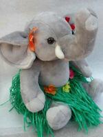 Build a Bear Elephant Plush 16in Teddy in Hawaiian Hula Grass Skirt Trunk Up