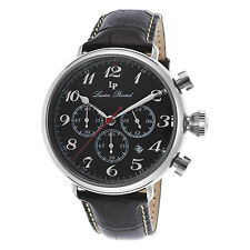 Lucien Piccard 72415-01 Black Genuine Leather and Dial Men's Quartz Watch