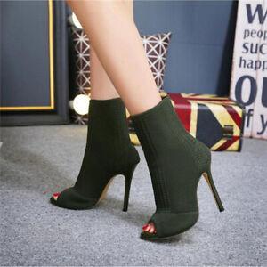 Womens Ankle Boots Knit Sock High Heels Peep Toe Slip On Stiletto Shoes Elegant