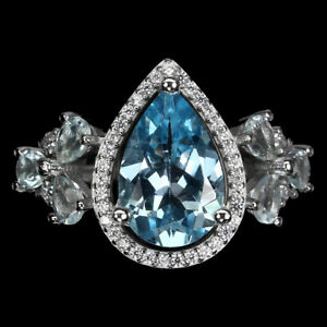 Pear Sky Blue Topaz 12x8mm Cz 14K White Gold Plate 925 Sterling Silver Ring 7