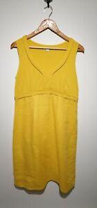 Boden Uk 14 Sunflower Yellow Sleeveless Jersey & Linen Dress Summer Colourful