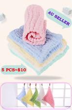 5Pcs Infant Kids Baby Bib Burp Cloths Thick Muslin Cotton Bath Face Towel Hanky
