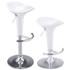 Set of 2 Bombo Style Swivel Barstools Adjustable Counter Chair Bar Stools White