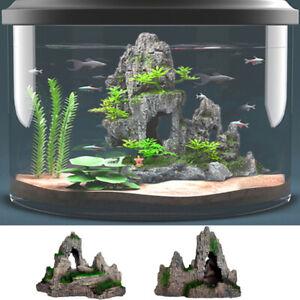 Resin Fish Tank Rockery Stone Ornament Decoration Hide Fish Moss Cave Furnishing
