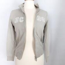 BCBG MaxAzria Women's Beige Zippered Jacket Sweatshirt Size S Sparkles NWT