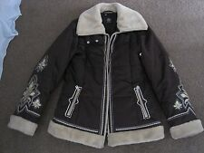 LADIES BOGNER BROWN SKI SNOW WINTER JACKET with FUR UK 10-12 CHEST 40-42