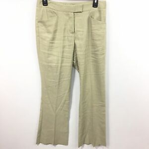 THEORY Women's Light Beige Linen Blend Pants 4 Career Wear to Work