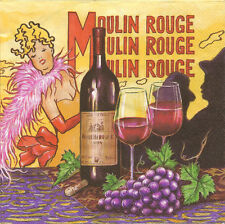 4 Single Paper Napkins for Decoupage Moulin Rouge Bottle of Wine Grapes