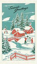 Cavallini - 100% Natural Cotton Vintage Tea Towel - Christmas Winter Wonderland