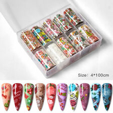 10 x Christmas Nail Art Foils Nail Transfer Foil Wraps Decal Glitter Sticker DIY