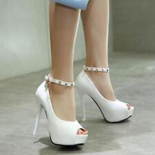 Zapatos de Salón Stiletto 13CM Elegantes Blanco Novia Plataforma Piel Sint 8084