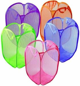 Pop up LAUNDRY bag mesh foldable washing BASKET bin hamper cloth toy storage UK