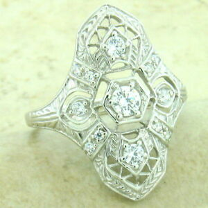 ART DECO PLATINUM OVER 925 STERLING SILVER ANTIQUE STYLE CZ RING SIZE 5,   #1157