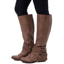 Boots For Womens Buckle Riding Thick Heel Winter Zipper Shoes Knee High Belt Zip