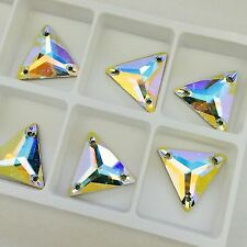 6 x 16 mm SWAROVSKI CRYSTAL AB TRIANGLE sew on feature stones jewels gems large