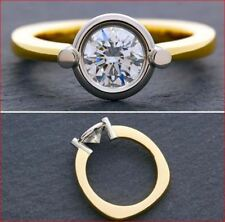 1.5Ct Round Cut Moissanite  Bezel Set Engagement Euro Shank Ring 14K Yellow Gold