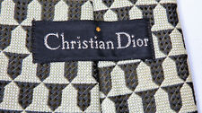 Vintage CHRISTIAN DIOR-Paris Mens Tie Designer Geometric Pattern Knit Silk