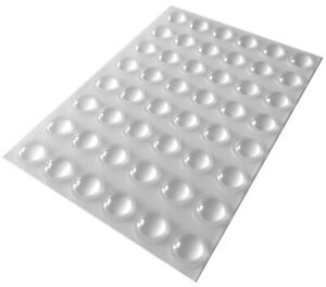 48 Clear Self Adhesive Domed Rubber Feet Bumpers for Furniture, Cabinets & More
