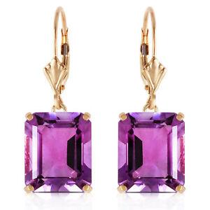13 ctw Natural Amethyst Emerald Cut Gemstones Leverback Earrings 14K Solid Gold