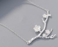 925 Sterlingsilber Damen Halskette Kirschblüte Blüte Blume Kette Silber Filigran