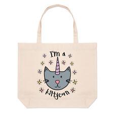 LUNA I'm a kittycorn GRANDE BORSA CON MANICO da Spiaggia - CAT Unicorn rocchetto