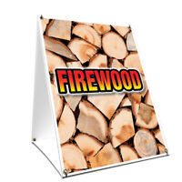 A-frame Sidewalk Sign Firewood With Graphics On Each Side