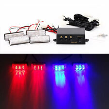 4x3LED Car Police Strobe Flash Light Red Blue  Emergency Warning Flashing Lamp