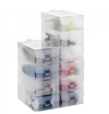 15 X LADIES CLEAR PLASTIC FOLDABLE SHOE STORAGE SHOE ORGANISER SPACE SAVE BOXES