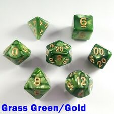 PEARL Poly 7 DICE RPG Set vert gazon or Pathfinder 5e Donjons Dragons d&d HD