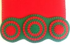 18 inch candle mat penny rug Handmade of felt for Christmas ornaments and decor