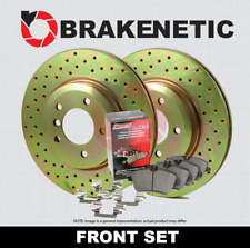 FRONT BRAKENETIC SPORT DRILLED Brake Disc Rotors + POSI QUIET Pads BSK80063