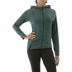 Asics Women's Running Hoodie Full Zip Long Sleeve Top - Green - New