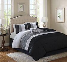 Comforter Set 5 Piece Black Grey Full Queen Size Sham Pillow Bed Skirt Bedroom