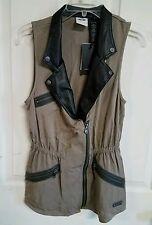 NWT Harley Davidson ladies asymmetric zip vest, size S, twill, brown, #81