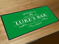 Personalised Welcome green Beer bar runner mats