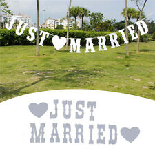 """Vintage """"JUST MARRIED"""" Wedding Banner Party Decor Bunting Photo Booth Props"""