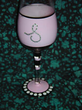 Pink & Black Wine Glassware Handwash With The Letter S HandPainted