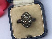 "Antique Jewellery Art Deco Marcasite Ring UK  ""N1/2"""
