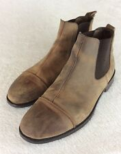 BACCO BUCCI Studio Rustic Distressed Brown Leather Ankle Boots Men's Size 10.5 M