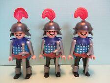 Playmobil figures SET OF 3 IDENTICAL KNIGHTS W/ SWORDS + CROSSBOWS + HELMETS etc