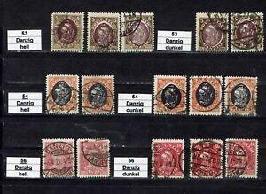 Danzig Einzelmarken 53 -54, 56 gestempelt, verschiedene Farben ungeprüft,