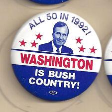 """1992 GEORGE H.W. BUSH SMALL 1 3/4"""" WASHINGTON PICTURE CAMPAIGN BUTTON"""
