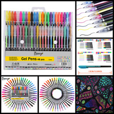 48 Piece Unique Color Glitter Gel Pens Neon Metallic For Adult Coloring Books