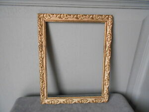 Vintage french GILDED WOOD FLORAL FRAME  / pictures or painting