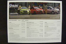 2013 CHEVROLET SPARK DEALERSHIP SPECIFICATION CARD