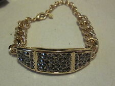 AVON Show ID Bracelet Goldtone Glimmering Hematite Crystals & Lobster-Claw Clasp
