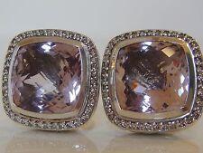 $2650 DAVID YURMAM SS , LARGE ALBION LAVENDER AMETHYST DIAMOND EARRINGS 14mm