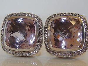 $2650 DAVID YURMAM SS , LARGE ALBION LAVENDER AMETHYST DIAMOND EARRINGS